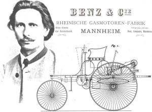 Carl Benz und Motorwagen