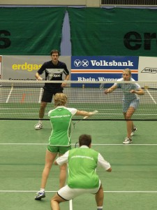 Badmintonmatch im Doppel