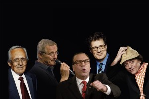 Dieter Hildebrand, Erwin Pelzig, Georg Schramm, Konstantin Wecker zusammen im Circus Krone